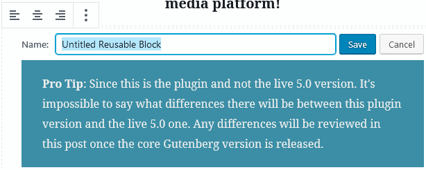 Screen to give the wordpress gutenberg reusable blocks a name and save it