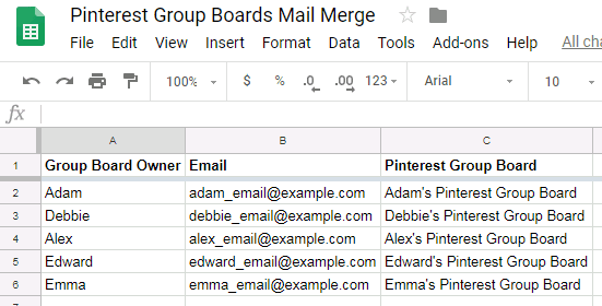 Pinterest group boards added to google sheet for mail merge purposes