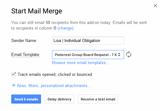Pinterest group boards install of yet another mail merge add-on start mail merge
