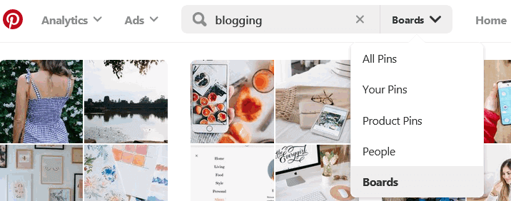 Pinterest group boards search bar drop down list to filter pinterest boards
