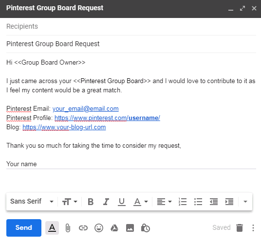 Pinterest group boards yet another mail merge add-on example email template 3