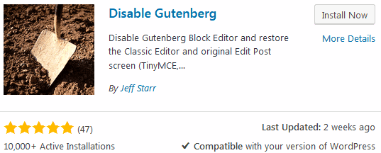 How to disable WordPress Gutenberg using the disable gutenberg wordpress plugin