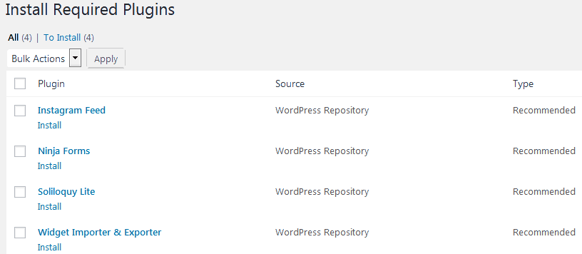 WordPress admin dashboard list of recommended plugins based on your theme