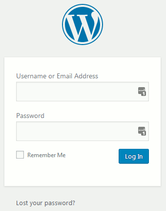 WordPress admin dashboard login URL screen, with lost your password option at the bottom