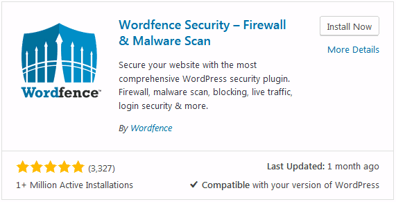 WordPress security tips plugin to try Wordfence install option.
