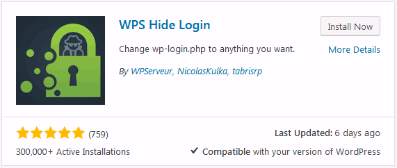 WordPress security tips option to install WPS Hide Login to hide the login URL from bad bots