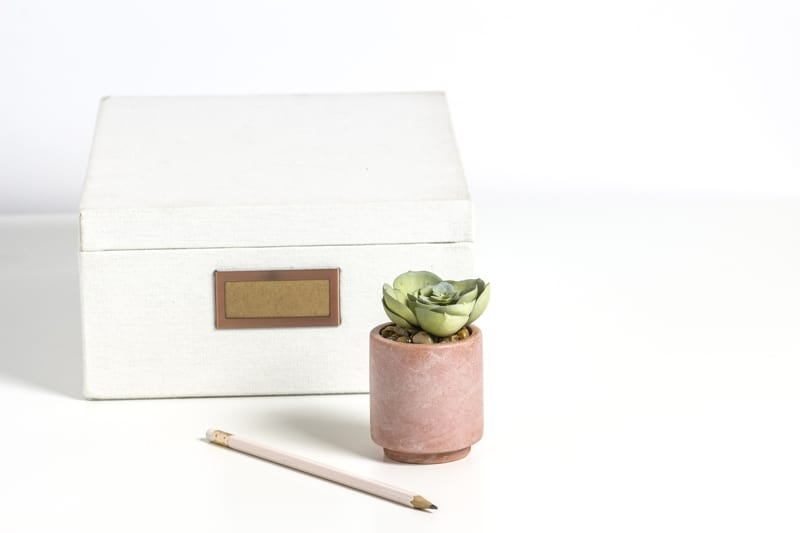 White Box With Small Potted Plant And Pencil Against White Background And Surface