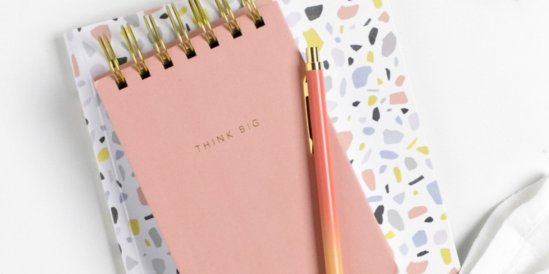 Blog Image Mistakes Header Of Peach And Light Colored Notepads Flowers And Eggs