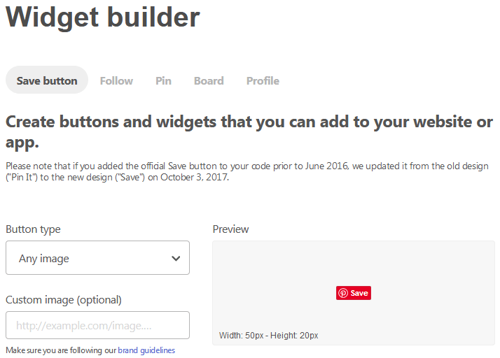 Example Screen Of The Pin It Button Setup On The Pinterest Widget Builder