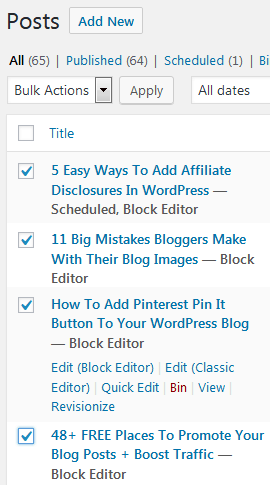 How To Select Multiple Blog Posts To Bulk Edit Their WordPress Categories And Tags