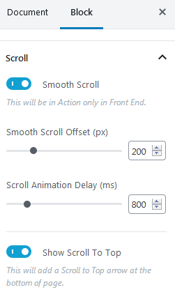 Ultimate Addons Table Of Contents Settings For Scrolling And Adjusting The Smooth Scroll Offset