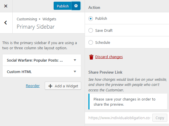 How To Use WordPress Widgets And Save Your Changes In The Customizer By Clicking Publish