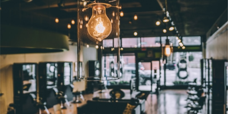 Bright Lit Light Bulb In A Coffee Shop For Bloggers