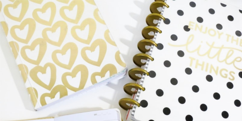Notebooks With Gold Hearts And Black Poka Dots