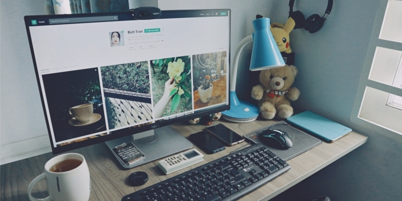 Wordpress Staging Site Header Of Desktop Computer Desk With Mug Teddy Bears And Other Electronics