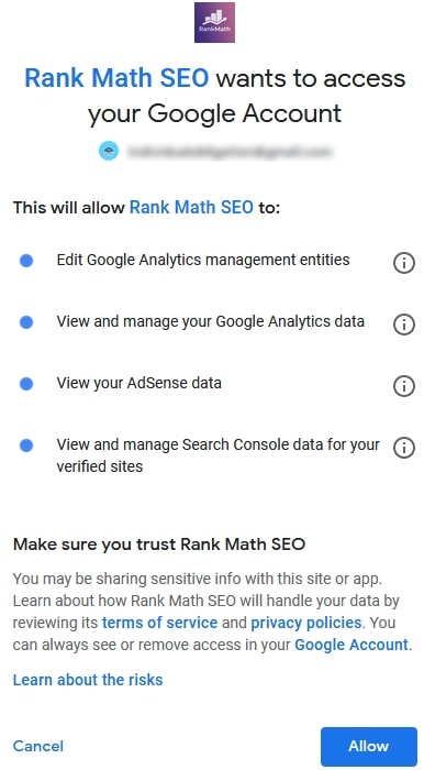 Giving Permission To Rank Math To Connect To Google Search Console