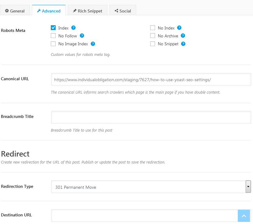 Rank Math Advanced Settings Tab For Customizing Nofollow Indexing Breadcrumbs Redirects More