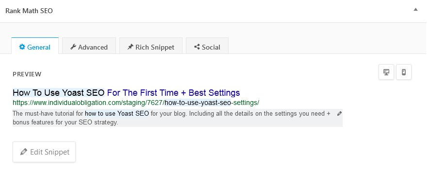 Rank Math Review Of The Preview Search Snippet Displayed In Google For Desktops