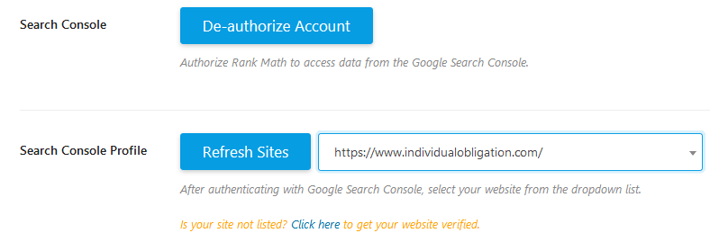 Rank Math Search Console Authorization And Website Profile To Use