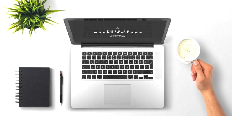 Silver Laptop Computer With Blogger Holding Coffee Mug Potted Plant Notebook And Pen