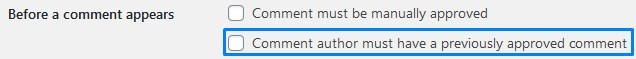 Comment Author Must Have A Previously Approved Comment For It To Be Approved Automatically In WordPress