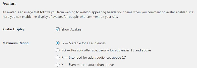Comment Avatars In WordPress Option To Show And Maximum Rating Settings