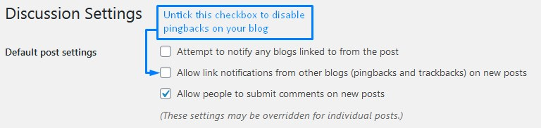 Enable Comments In WordPress And Disable Pingbacks Trackbacks And Notifying Other Blogs Of Linking