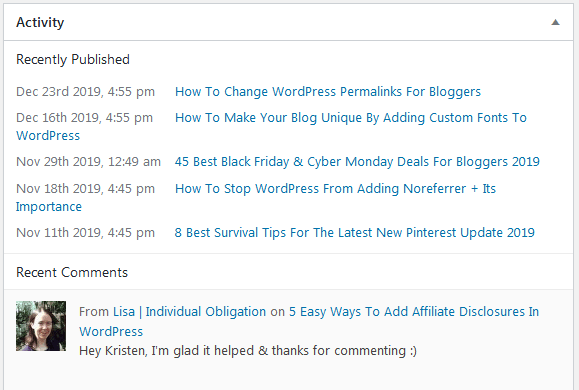 Enabling Comments In WordPress Display On The Dashboard Activity Window