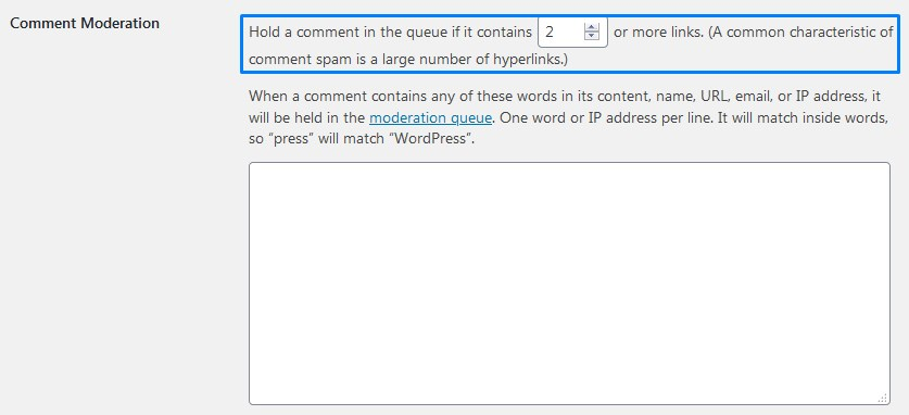 Hold A Comment In The Queue For Moderation If It Contains Links In WordPress