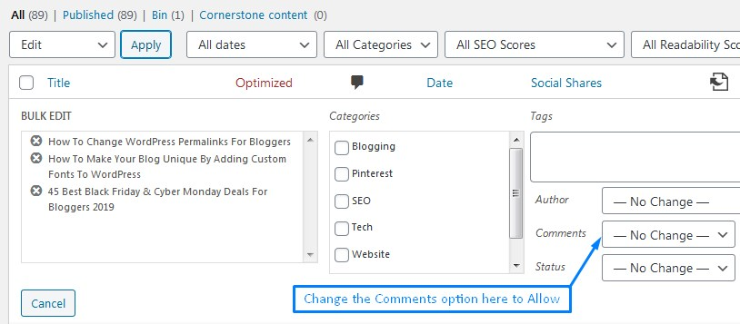 How To Bulk Edit Blog Posts To Enable Comments In WordPress