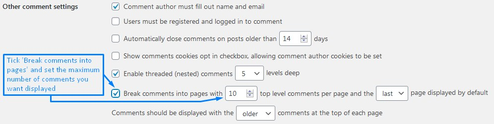 How To Enable Comments In WordPress And Split The Amount Of Comments Per Page For Speed