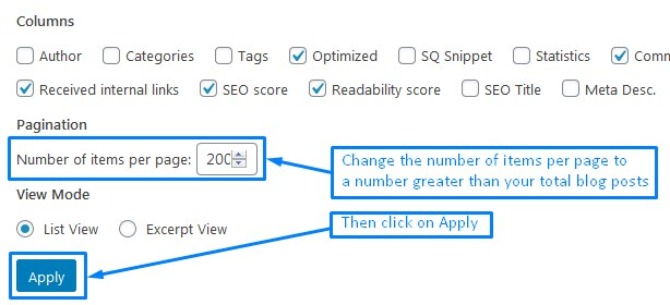 Screen Option Settings For The All Posts Screen To Increate Number Of Items Per Page