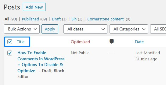 Tickbox To Select All WordPress Posts At Once