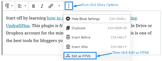 Wordpress Gutenberg Links How To Edit As Html To See Attributes Applied