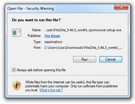 Wordpress Ftp Filezilla Run Security Warning