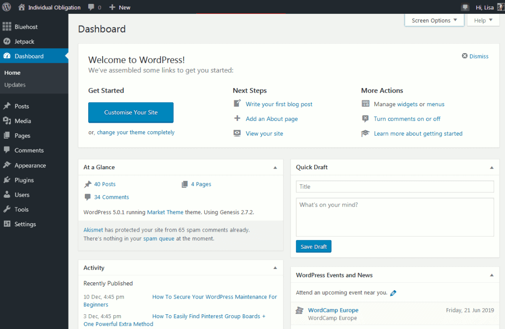 WordPress admin dashboard home screen when logging into wordpress for the first time