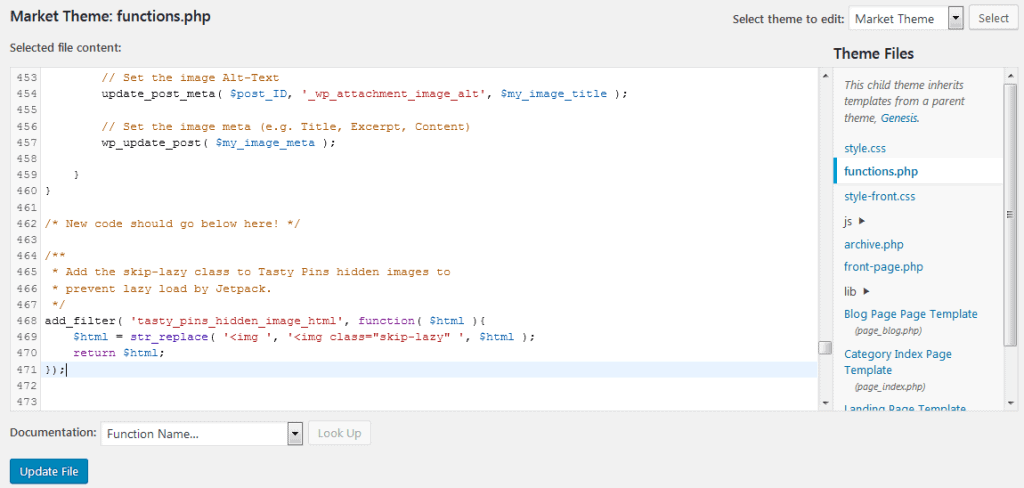 How To Edit Your Functions.php File To Fix Missing Pinterest Images Problem Using The Code For Jetpack