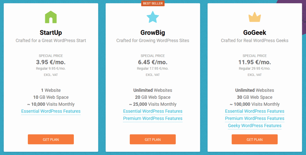 WordPress Hosting Comparison On Siteground Between Startup, Growbig And Gogeek