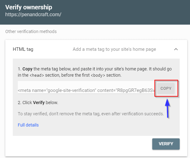 Copy Html Tag From Google Search Console To Paste Into WordPress Plugin Like Yoast Or Rank Math Seo