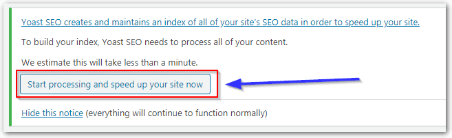 Option To Speed Up Yoast Seo When Installing For The First Time