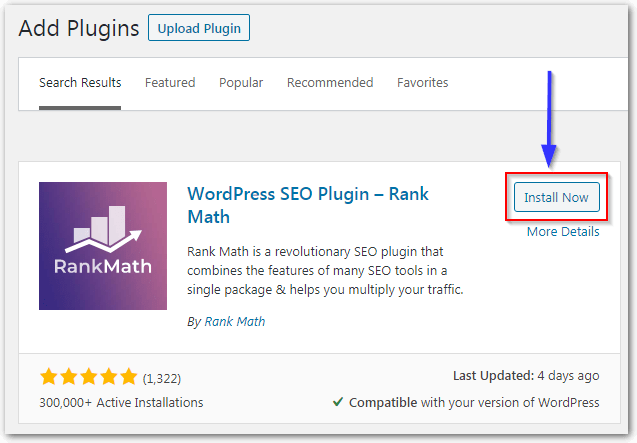 Rank Math Plugin Install Now And Activate For WordPress Seo
