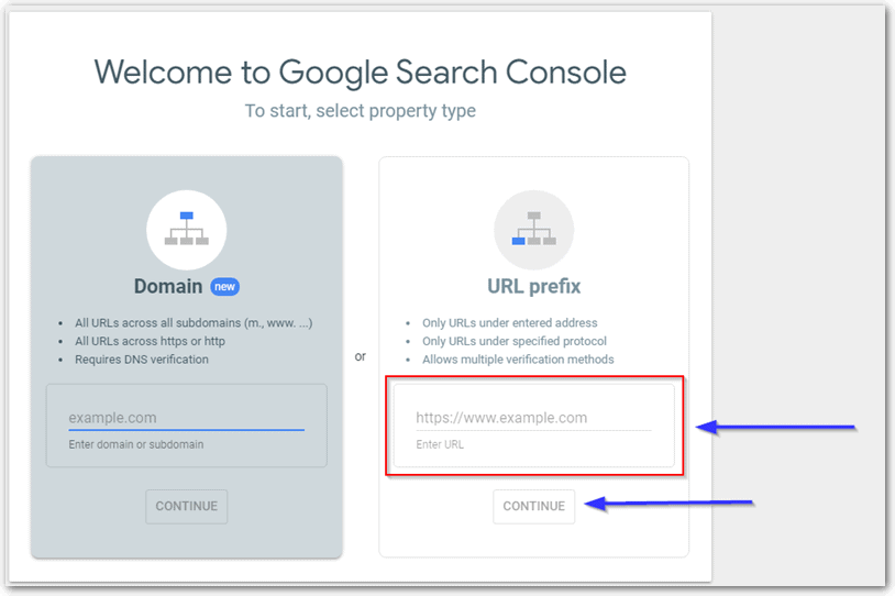 Using Welcome To Google Search Console Screen To Select Url Prefix Or Domain