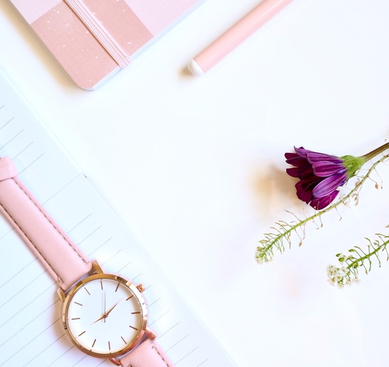 Feminine Pink Watch With Purple Flower Notebook And Pen