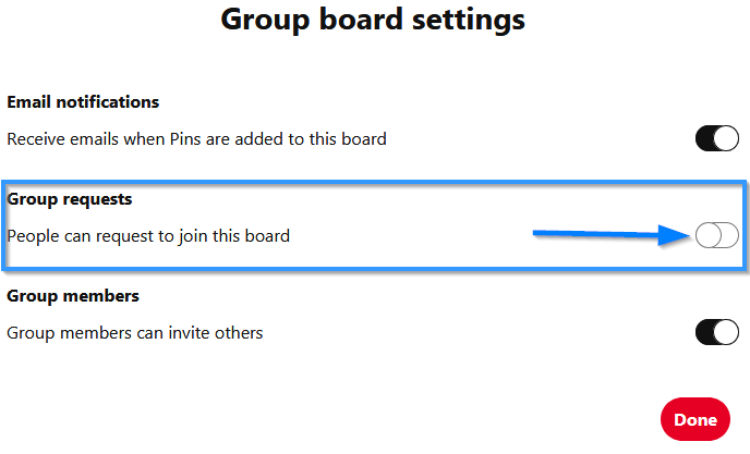 Pinterest Group Board Settings Screen To Enable The Group Requests To Join Your Pinterest Board
