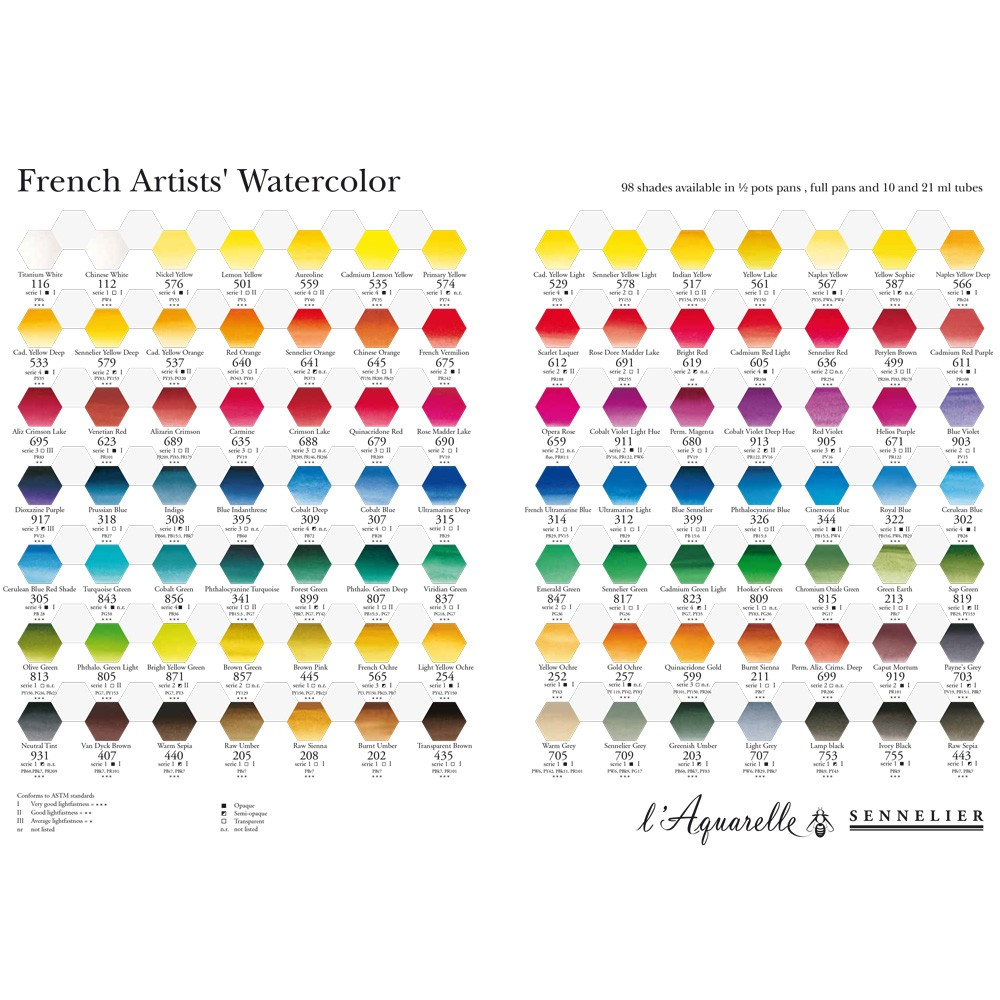 Sennelier Watercolour Printed Colour Chart Jackson S Art Supplies
