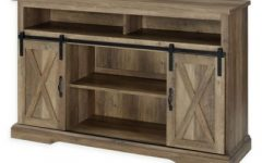 Tv Stands with Sliding Barn Door Console in Rustic Oak