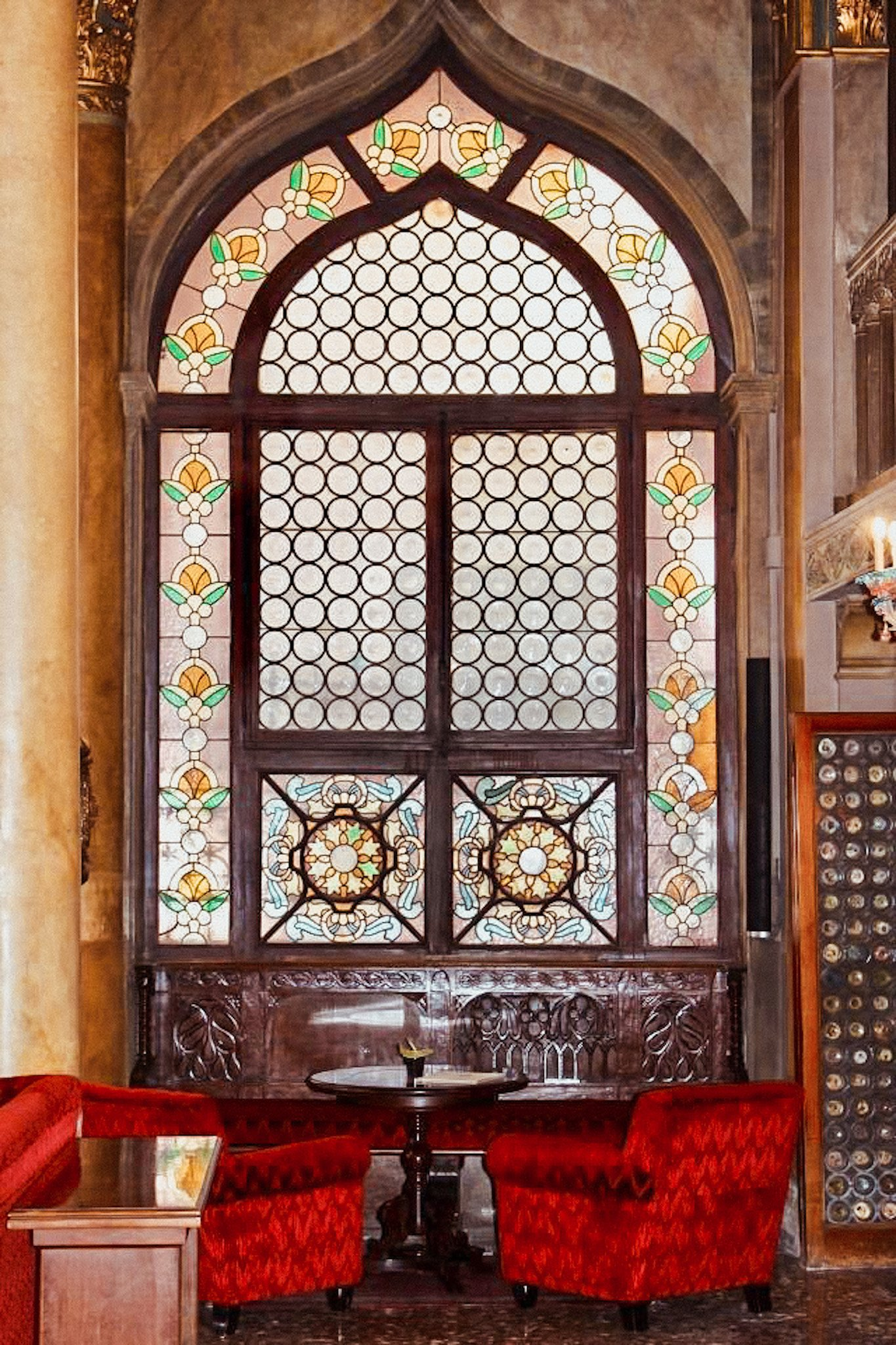 Stained glass window at Hotel Danieli in Venice, Italy