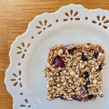 Banana Oatmeal Bar with Blueberries & Walnuts on dish