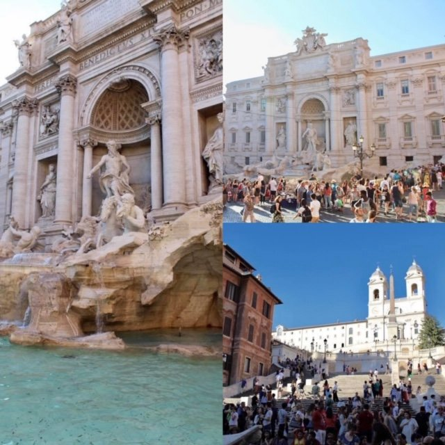 Trevi Fountain and Spanish Steps