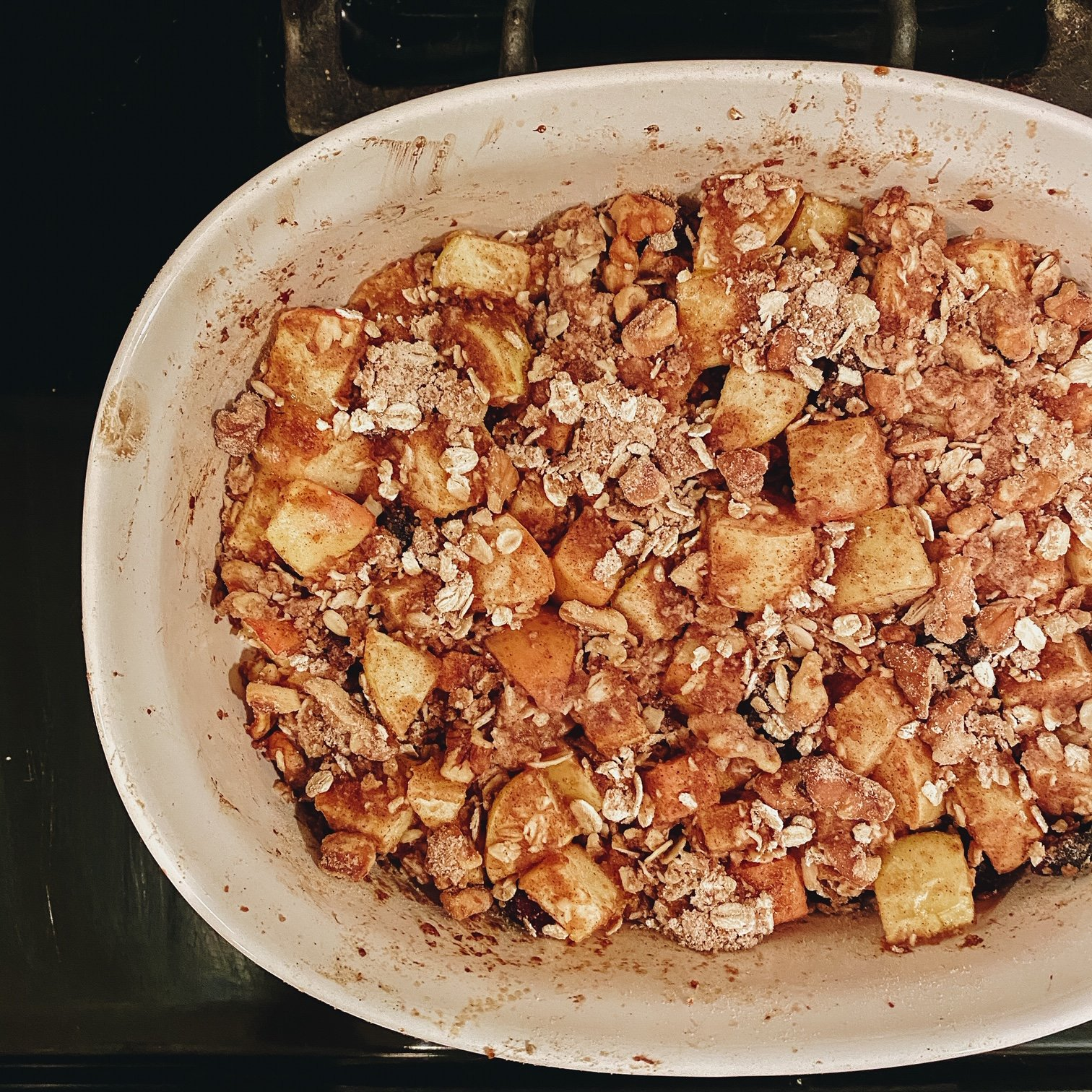 Apple Cranberry Crisp in Baking Pan